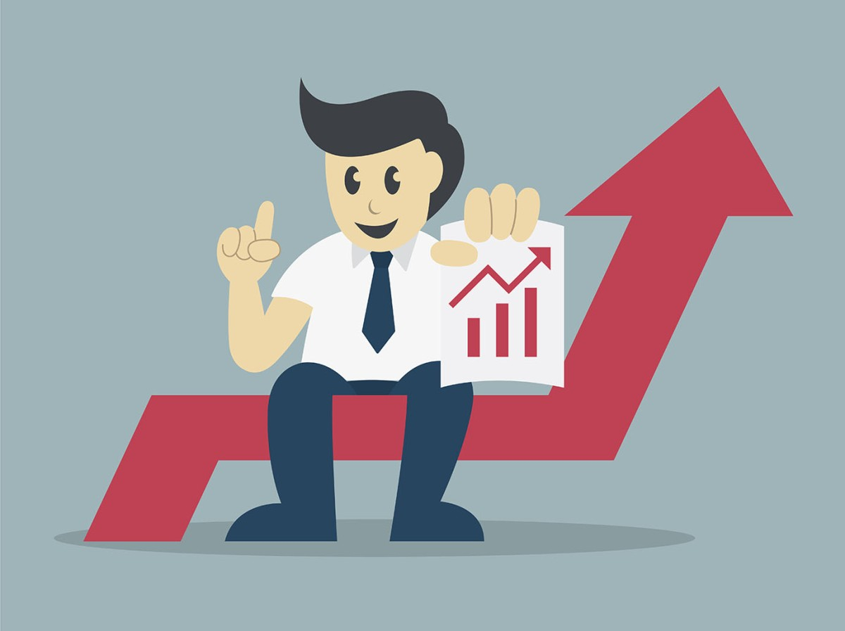 Successful businessman sit on arrow with a growing chart